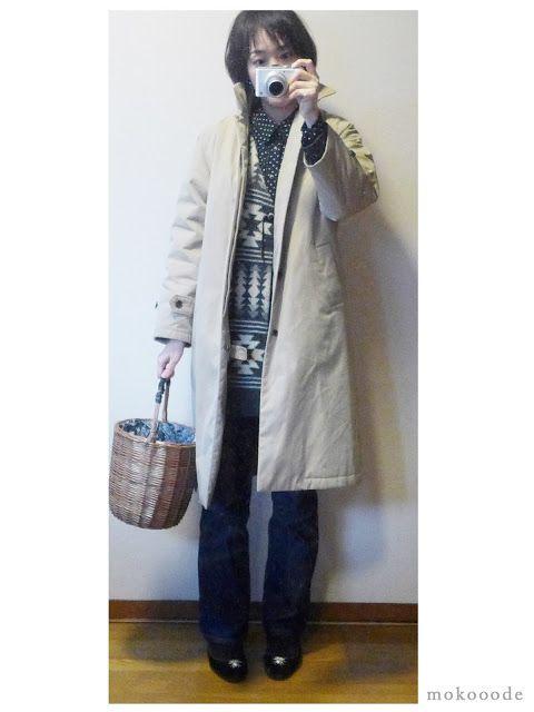 モコーデ: ブーツカットにカゴバッグでレトロガーリー 2月3日