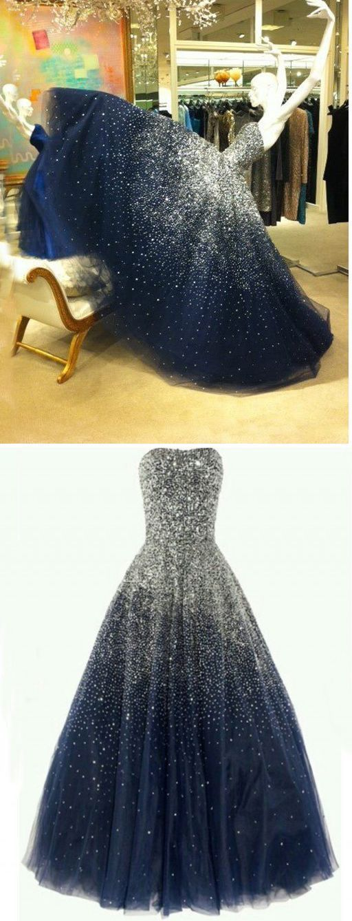 Navy Blue Tulle Strapless A-Line Long Prom Dress with Beading 0885