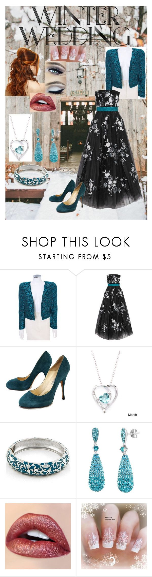 """""""True Romance: Winter Wedding"""" by miriam-witte ❤ liked on Polyvore featuring Valentino, NOIR Sachin + Babi, Brian Atwood, Fremada and Amanda Rose Collection"""