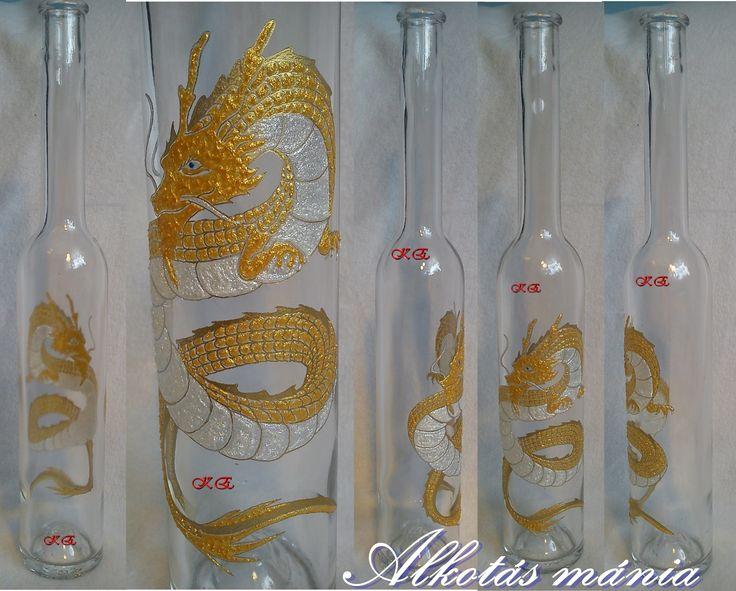 #aranysárkány##állatos##sárkányos##festett##palack##dísz##alkotásmánia#