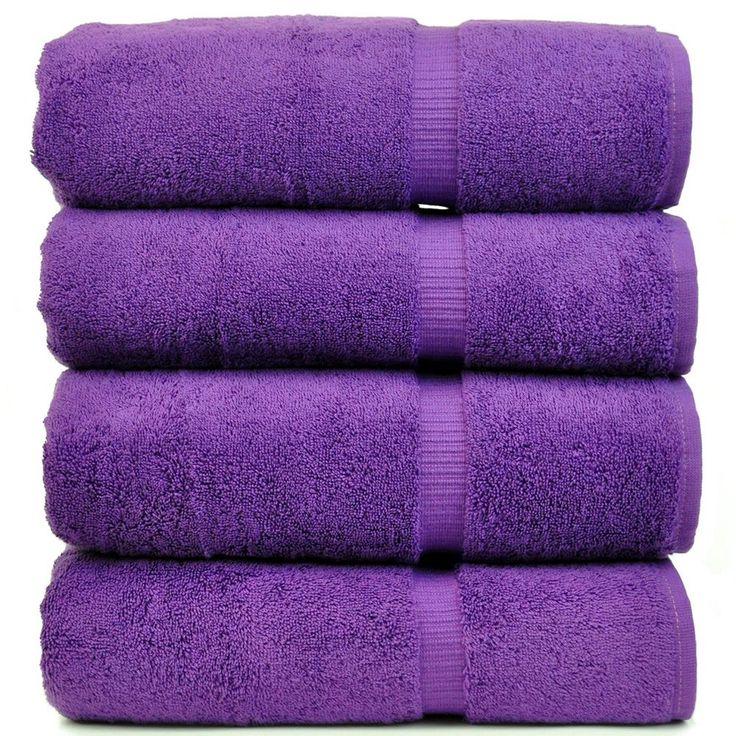 4 Pack Eggplant Purple Bath Towel Set New Free Shipping
