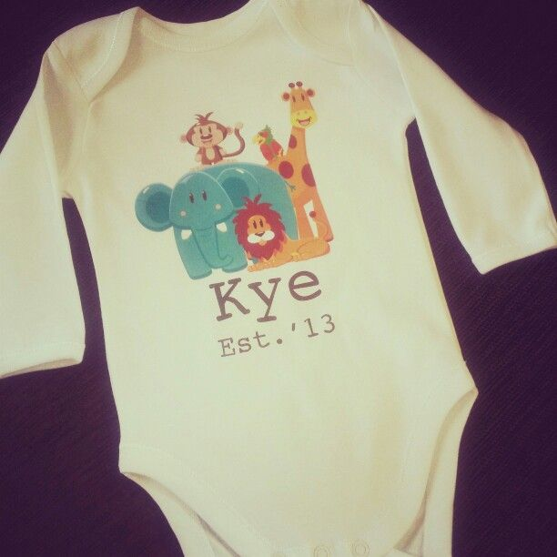 Personalised #jungle onesie for #babyshowergift -  Available at www.kateinglishdesigns.com.au