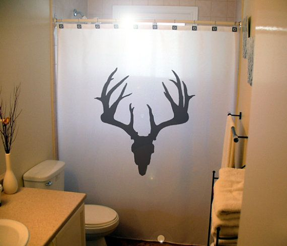 Deer skull shower curtain antlers hunting hunter hunt for Hunting bathroom accessories