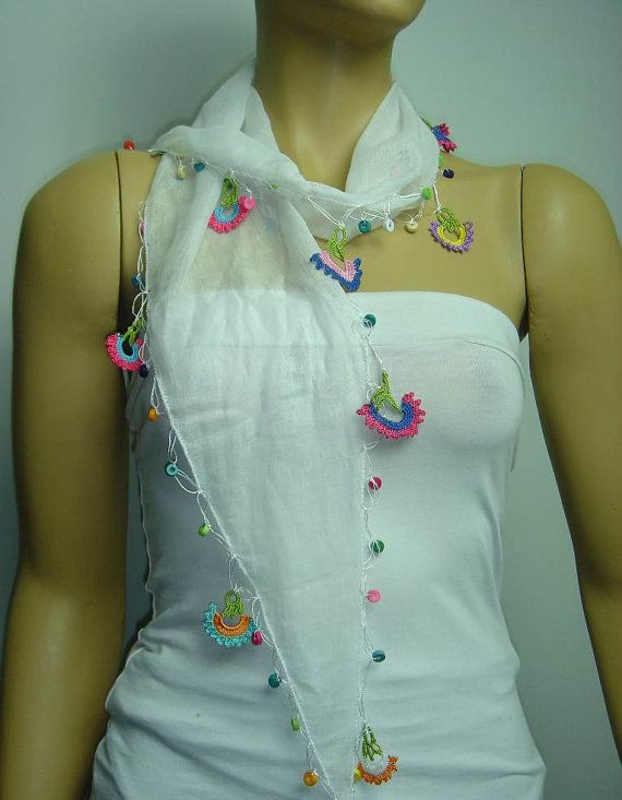Crocheted WHITE scarf with handmade multi color oya by istanbuloya