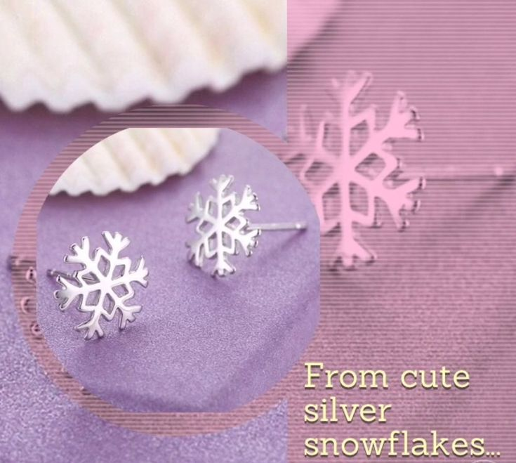 Cute Snowflake Stud Earrings. Free Organza Gift Bag. Silver Plated. Very pretty, would make a beautiful gift! Auctiva's FREE Counter. | eBay!