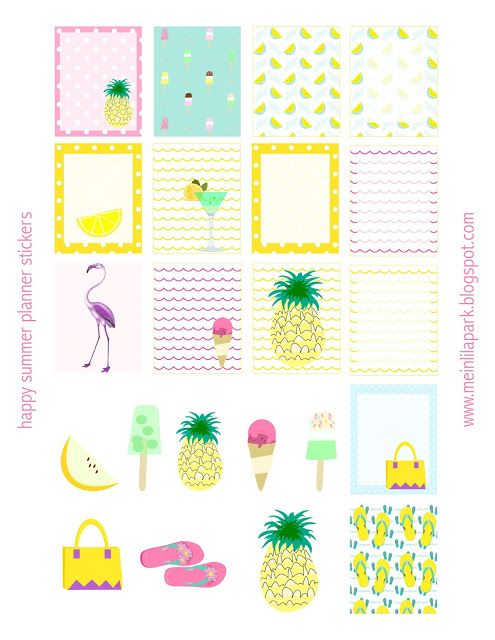 Free printable summer planner stickers