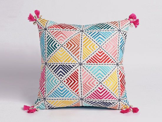 Embroidered pillow cover, multicoloured, handmade, bohemian, Peruvian decor pillow - Bright pink, yellow, blue, red, with hot pink tassels.  Fun design / decor