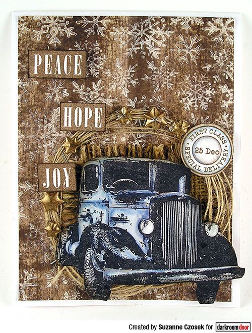 Card by Suzanne Czosek using Darkroom Door Snowflakes Background Stamp and Old Truck Photo Stamp