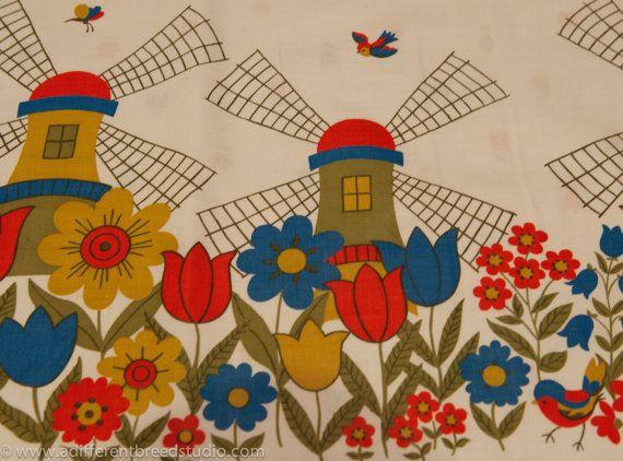 Mod Windmills Border Print Fabric Printsperation