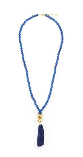 Bill Skinner Bigger Beasts Collection   Heatherscollectables.com  Tiger Tassel Necklace with Blue Agate  A colourful and playful piece, the Tiger tassel necklace is a perfect addition to your wardrobe and looks great when either dress up or down. The hand carved Tiger's head is plated in 18ct gold and set with Swarovski crystal eyes and hangs on 74cm of pretty 7mm facetted blue agate gemstone beads and a 5cm extender chain  £125