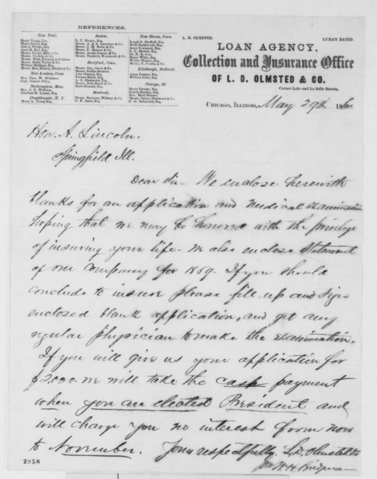 L. D. Olmstead & Co. to Abraham Lincoln, Tuesday, May 29 ...