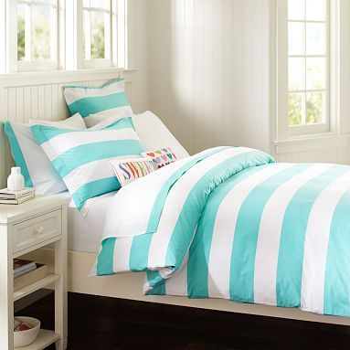 Cottage Stripe Duvet Cover + Sham #potterybarnteen mixed with another pattern for roomie?