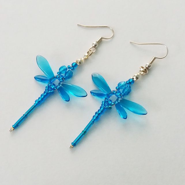 Beaded Dragonflies Earrings – Turquoise Blue  £10.00
