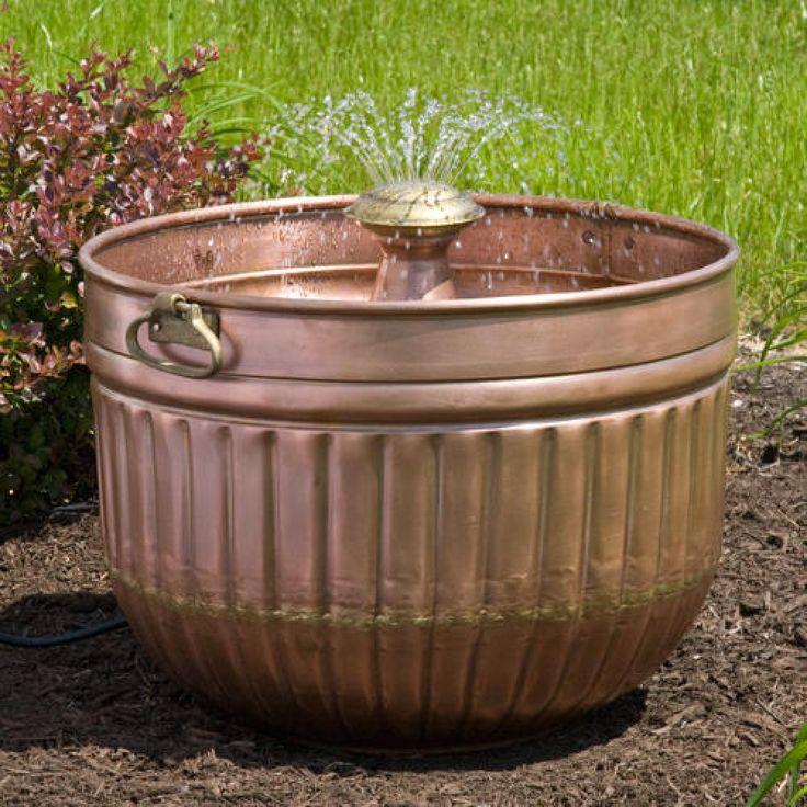 Copper Barrel Fountain - Antique Copper