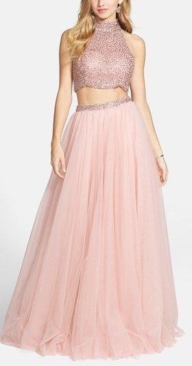 blush tulle skirt and sequined top