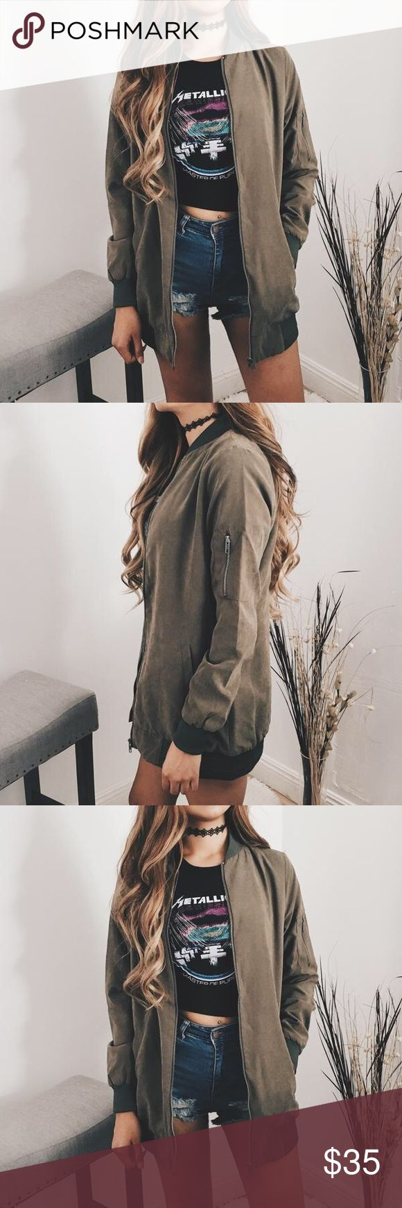 Suede Oversize Bomber Jacket (Olive) Model is 5'7 , wearing size small <3 but S,M,L available  FAVE suede olive bomber jacket ! Perfect throw on for any outfit :) 93% Polyester , 7% Nylon <3 Jackets & Coats