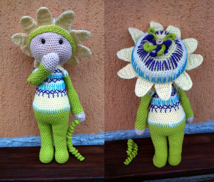 Amigurumi flower doll Passionflower Paz made by Renata - crochet pattern by Zabbez