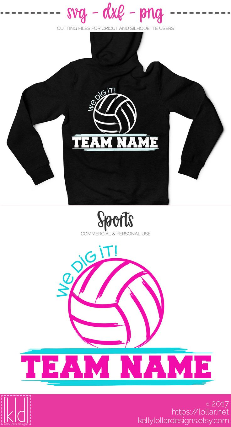 Make your own custom team shirts with this Volleyball svg file, just add your team name (team name font not included) | Kelly Lollar Designs
