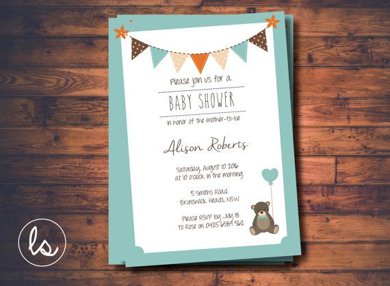 Teddy Bear Baby Shower Invitation ~ DIY PRINTABLE ~ Professional Printing with envelopes and postage included