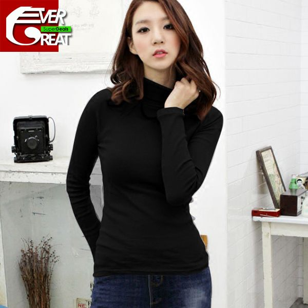 >> Click to Buy << Cotton bottoming shirt turtleneck 100% basic women's long-sleeve shirt plus size johns slim autumn winter pullover t-shirt JX44 #Affiliate