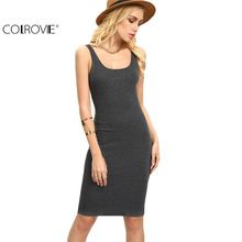 US $8.99 COLROVIE Ladies Summer Style Fitness Women Sexy Bodycon Knee Length Dresses Casual 2017 New Sleeveless Dress. Aliexpress product
