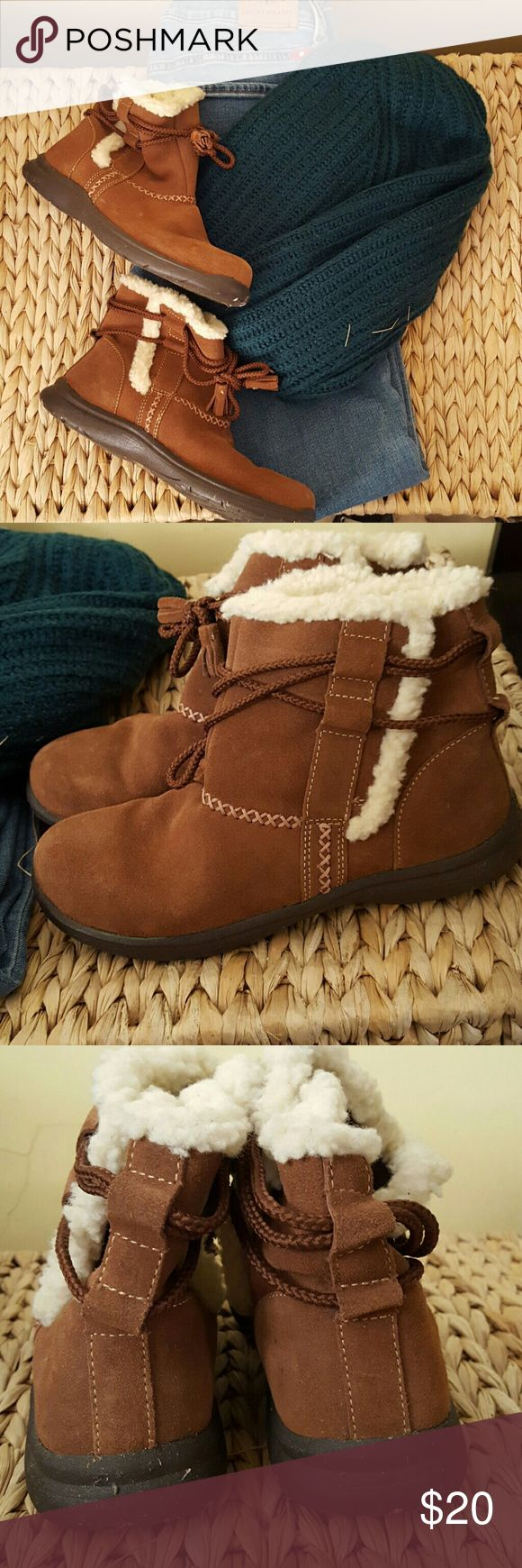 Brown suede mocassins Great condition, practically brand new. Only worn once around the house. Thick to keep feet warm through the cold winter months, great grip and water proof. Super cute too! Canyon River blues  Shoes Ankle Boots & Booties