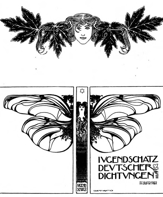 a very cool art nouveau ornament and cover spread for a german kid 39 s book echoes of deco. Black Bedroom Furniture Sets. Home Design Ideas