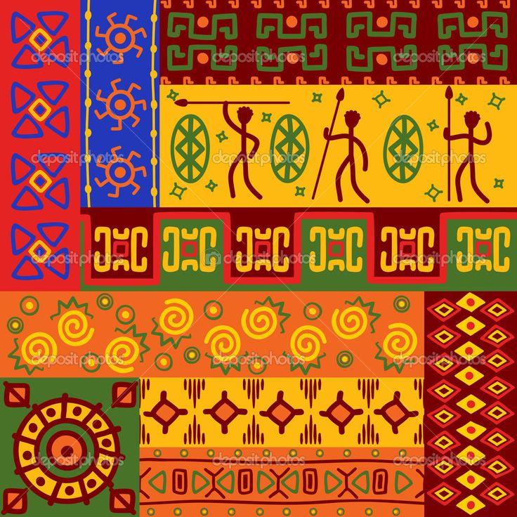 Скачать - Абстрактные этнические узоры и орнаменты — стоковая иллюстрация #7679989