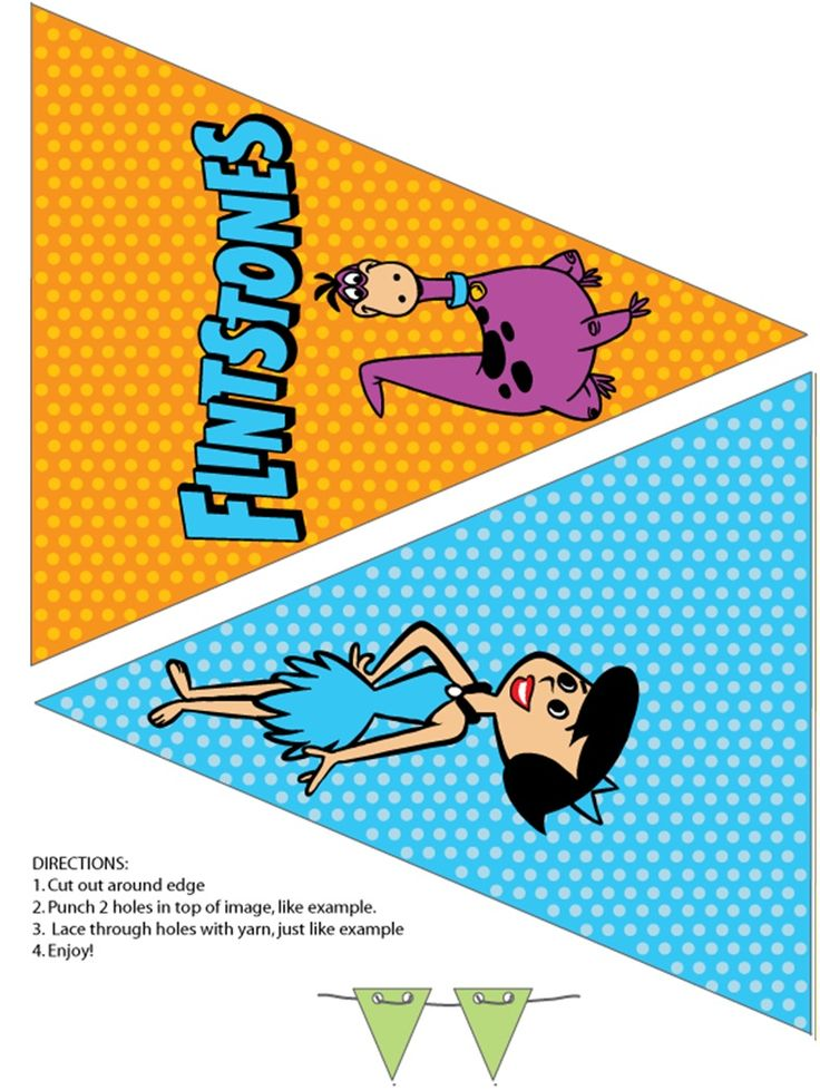 Flintstones printable party banner flags Dino and Betty