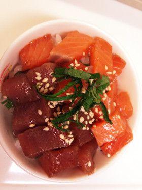 ごま油香る!マグロ&サーモン漬け丼! by ミユママ♡ [クックパッド] 簡単おいしいみんなのレシピが256万品