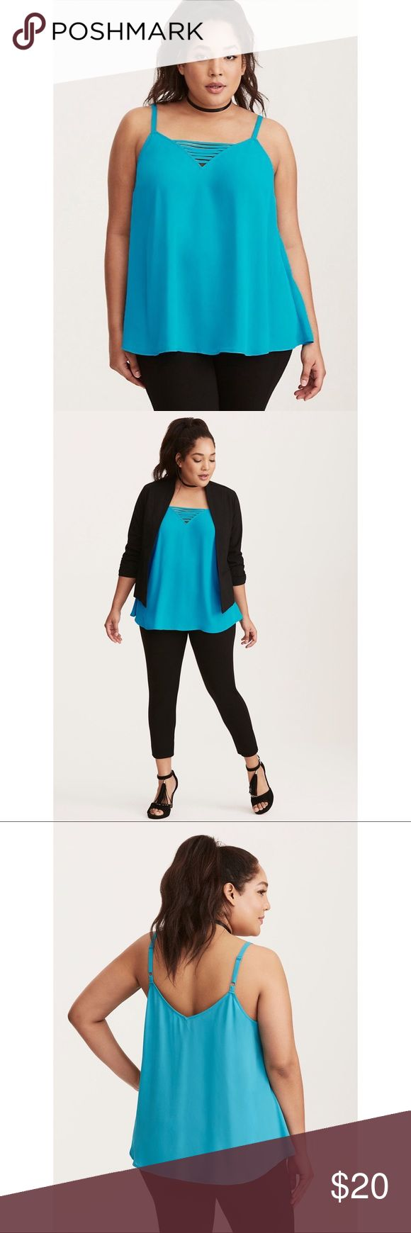 "NWOT Torrid Cami Go ahead call us an outfit repeater; with this cami top we have no shame. The bright  teal chiffon is our lightweight go-to come summer, with a flowy fit and an airy feel. The deep v dresses up the look ever-so-slightly, while the strappy details define sexy. Torrid size 0  Model is 5'10"", size 1 * Polyester * Wash cold, dry low * Imported plus size cami  ➡️No Trades. ➡️No Lowball Offers. ➡️No Holds. ➡️Bundle and save! torrid Tops Camisoles"