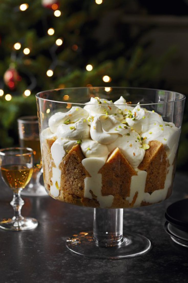 Try the Waitrose recipe for orange and ginger syllabub trifle. Oranges are at their best at this time of year so why not make the most of them with this delicious dessert. (Christmas Cake)