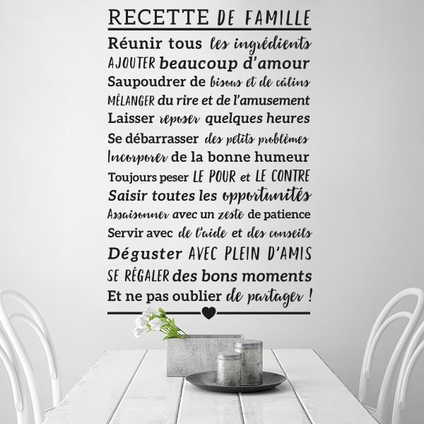 sticker recette de famille d coration pour cuisine dispo sur stickers. Black Bedroom Furniture Sets. Home Design Ideas