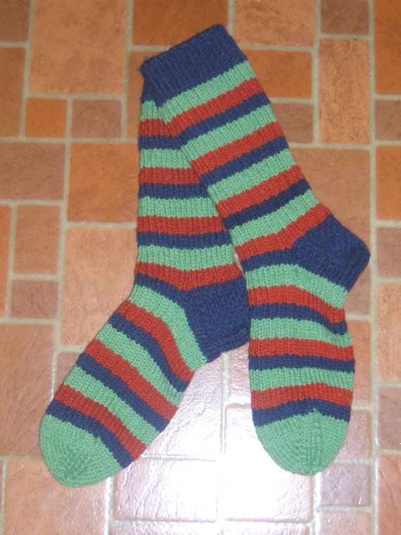Multi Colored Thick Warm Wool Socks  Navy Fern Rust by soxylady