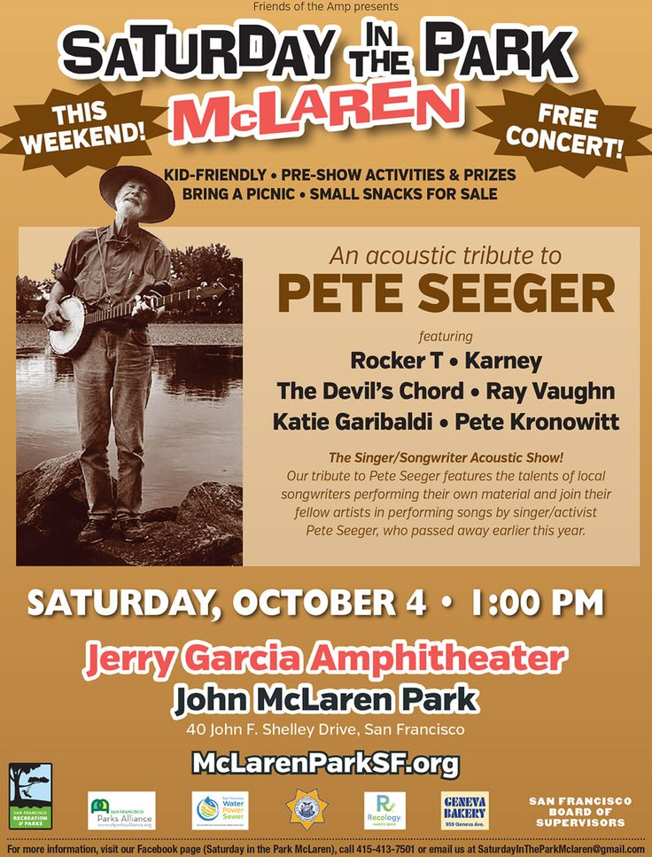 The Singer/Songwriter Acoustic Show: A Tribute to Pete Seeger features the talents of our local songwriters who will perform their own musical material -- lyrics and melodies -- and join their fellow artists in performing songs written by singer/activist Pete Seeger, who died this past January. The lineup includes Karney, Rocker T, Katie Garibaldi, Ray Vaughn, The Devil's Chord, and Pete Kronowitt. Saturday, October 4, 2014 at 1pm at the Jerry Garcia Amphitheater at McLaren Park in San…