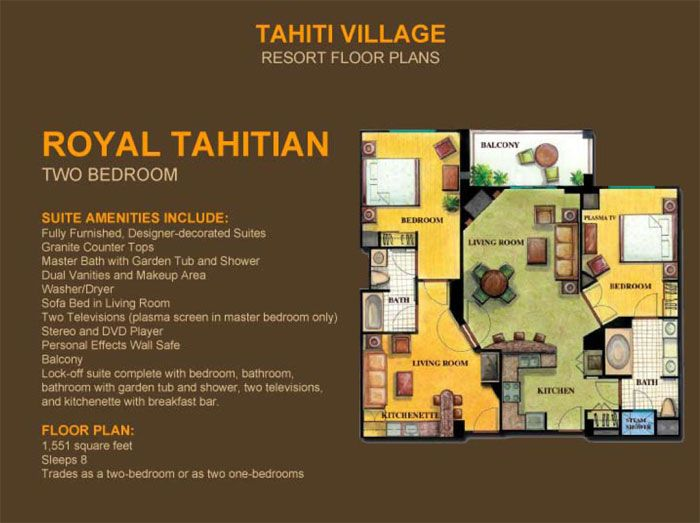 2 Bedroom Suites in Las Vegas - Royal Tahitian | Tahiti Village