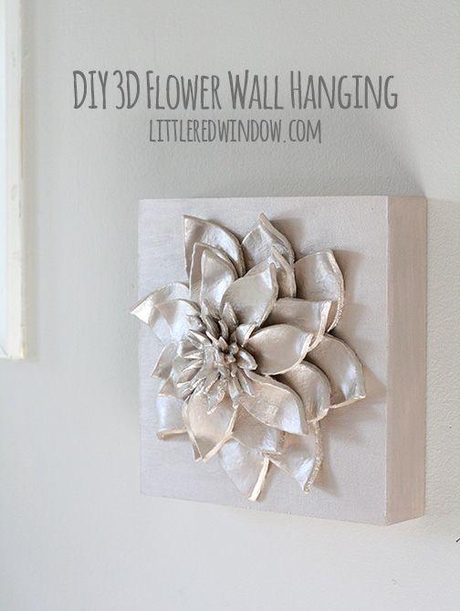 Make a gorgeous 3D Flower Wall Hanging with simple materials!   littleredwindow.com