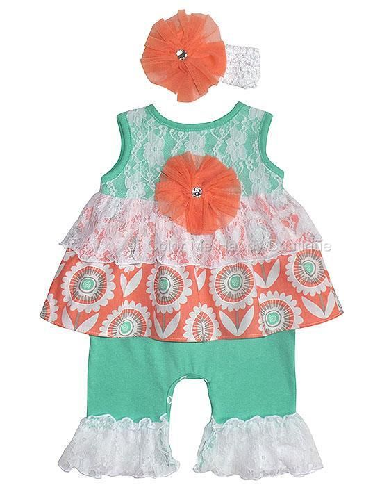 Peaches n Cream Mint Coral Lace Ruffle Romper Headband set BABY Girls 0-9m - Color Me Happy Boutique