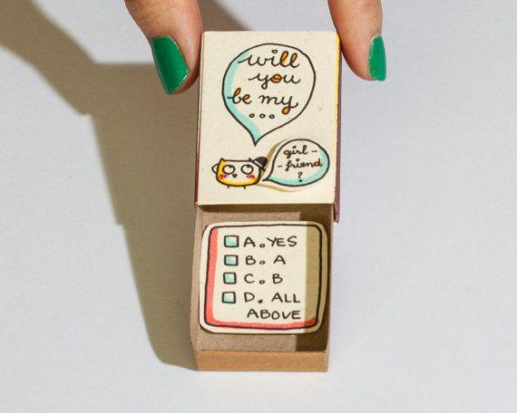 Lustige Liebeskarte / Cute Vorschlag / Matchbox / Geschenkbox / werden Sie meine Freundin