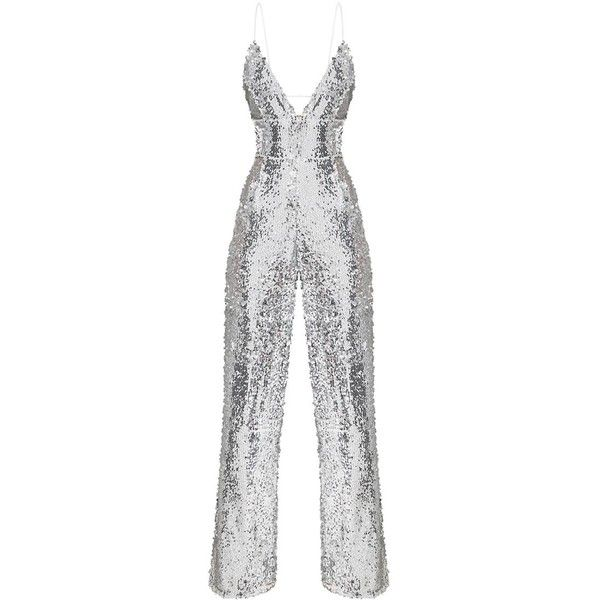 Silver Sequin Plunge Jumpsuit ($90) ❤ liked on Polyvore featuring jumpsuits, white jumpsuit, sequin jump suit, jump suit, sequined jumpsuits and plunge jumpsuit