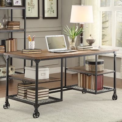 Features:  -Hand scraped top.  -Removable shelf: yes.  -Wheels do not roll on desk.  -Removable casters: No.  -Surface: smooth.  Distressed: -Yes.  Desk Type: -Writing desk.  Top Finish: -Ash veneer.