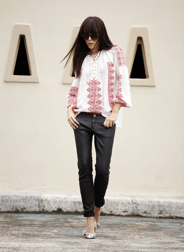 Altuzarra top/Current Elliott leather pants/Isabel Marant pumps/Apriari rings/Celine sunglasses