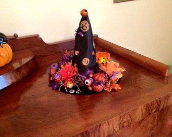 Witch Hat, cappello di strega di Halloween, Halloween decorazioni da tavola, Halloween Mantel Decor, decorazioni di Halloween strega, centrotavola, zucca Decor