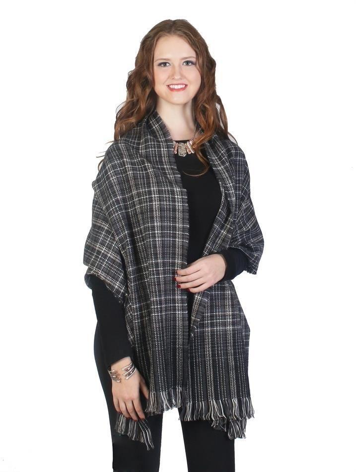 "Dark Gray Tartan Ombre Blanket Scarf Frilled Edges 23' X 70""  NWT #NorthSouth #Scarf"