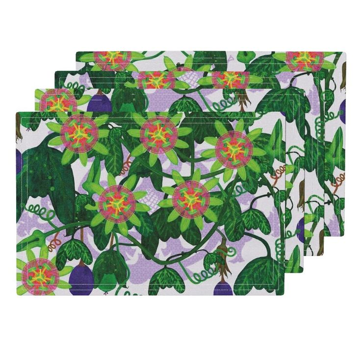 Lamona Cloth Placemats featuring Passiflora mexicana by joancaronil | Roostery Home Decor