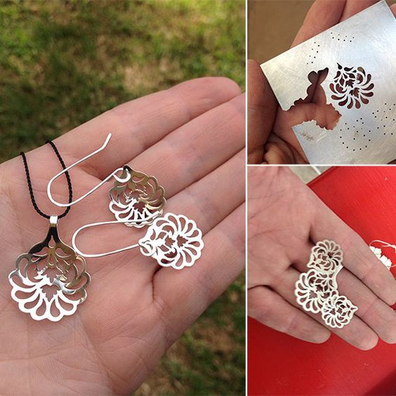 Making a Victorian style pendant and earrings in sterling silver. #silver #jewellery http://simonewalsh.com