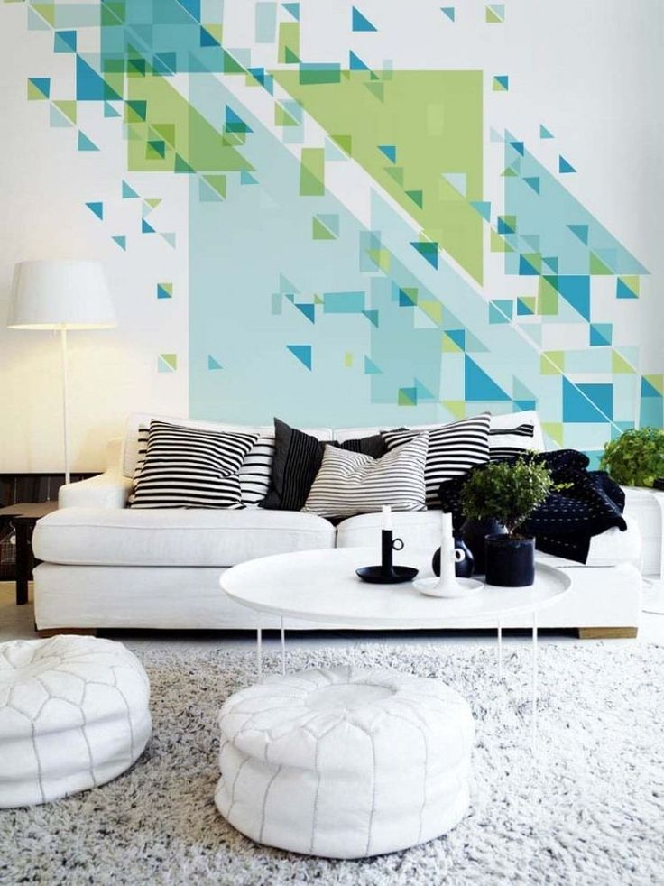 dco murale originale dans le salon en blanc et gris peinture murale 3d en blanc