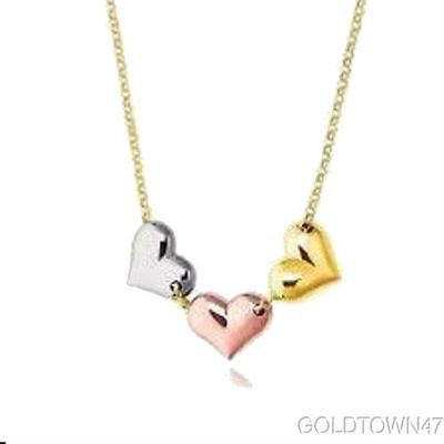 14K Yellow Gold Rolo Chain with Multi-Tone Gold Tube HEarRingt Pendant Necklace