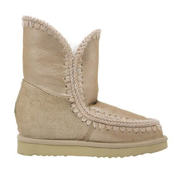 MOU Eskimo Wedge Short Boots Microglitter Sand - MOU