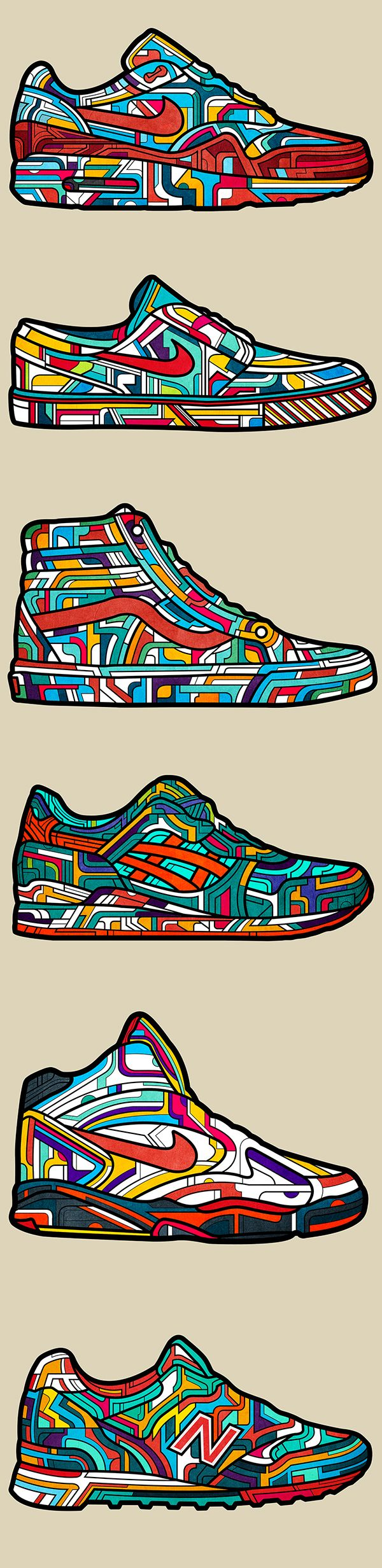 Classic Sneakers Collection on Illustration Served